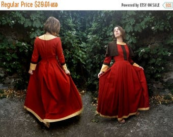 ON SALE 50%SALE Historical costume Dress Medieval Wear Chestnut Cotton dress Peasant Dress Festival Villager costume Camelot dress With Cape