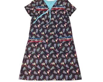 Vintage Clothing, House Dress XS S M, 60s Dress, HouseDress, Butterfly Print, Cotton Dress, Floral Dress, 60s House Dress, SIZE XS S M