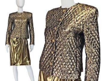 Vintage Clothing, Gold Lame Suit S, 80s Suit, Shoulder Pads, Gold Disco Skirt, 80s Jacket, Metallic Suit, Quilted Jkt, CARLISLE, SIZE S 4 6