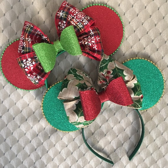 Holiday Christmas plaid or holly Disney minnie mickey mousse ears