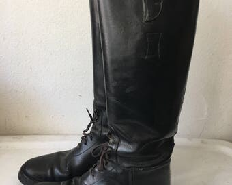 Real police style boots from leather shabby heavy leather boots strong&rigid long old boots with laces vintage retro men's black size-9.