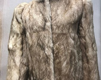 Rabbit fur coat size small .