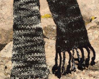 Hand Knit Yak Yarn Tweed Scarf