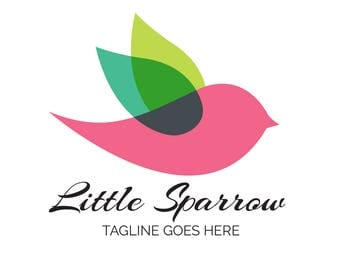 Bird Logo - Sparrow logo - Premade bird boutique logo - Bird logo - unique Logo Design - One of a kind logo