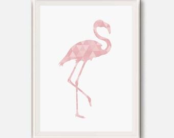 Pink flamingo, Pink geometric art, Pink nursery, Girl room wall art, Flamingo triangle wall print, Tropical wall art, bird Modern printable