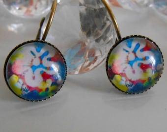 "Stud Earrings ""multicolor Hippie festival"" glass cabochon"