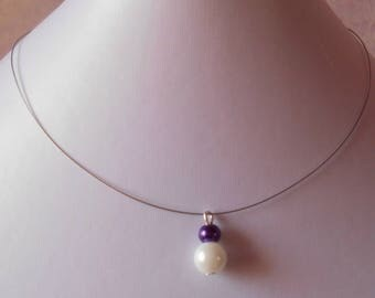 Pair of pearl purple and white wedding necklace