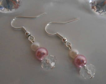 Rhinestone wedding earrings white and old pink pearls