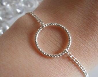 Engraved silver circle bracelet