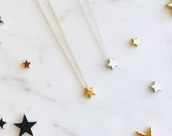 Gold Star Necklace Silver Star Necklace Gift Her Bridesmaid Necklace Bridal Necklace Dainty Necklace Layering Necklace Minimalist Necklace