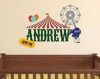 Circus Wall Decal - Personalized Wall Decal - Carnival Wall Decal