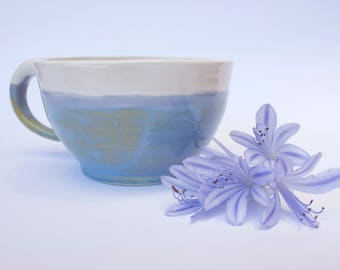 25% Off, Sale item, Small ceramic cup, handmade tea cup, coffee cup, blue & white mug, breakfast cup, unique mug, modern cup, pottery cup