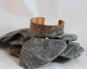 Pretty Copper Bracelet with Texture and Bluish Patina (082017-009)
