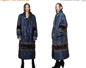 SUMMER33OFF vtg 90s blue embroidered ethnic floral AVANT Garde chunky structural puff coat S M L