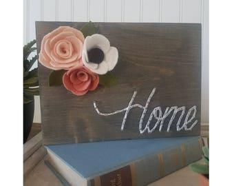 Home String Art with Felt Flowers