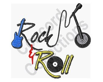 Music - Machine Embroidery Design, Rock And Roll - Machine Embroidery Design