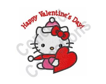 Hello Kitty Heart - Machine Embroidery Design, Happy Valentines Day - Machine Embroidery Design