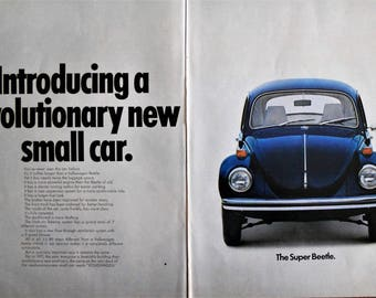 1971 Super Beetle ad.  1971 VW Super Beetle ad.  1971 Volkswagen Beetle ad.  1971 VW Bug ad.  VW Super Beetle.