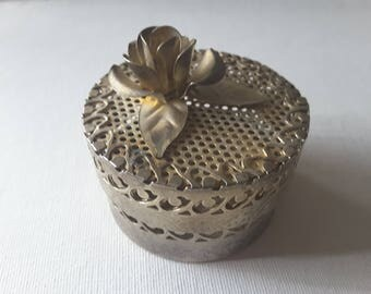 Filigree metal trinket box with rose
