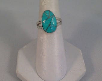 Native American Navajo Turquoise And Sterling Silver Inlay Ring Sz 6