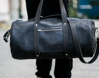 Man Leather Duffle Large Bag  Zippered Leather Duffle Overnight Bag Leather Weekend Gym Bag Every Day Bag