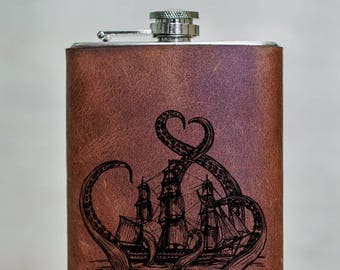 Octopus 8oz Kraken Flask Leather Wrapped Flask Groomsman Octopus Attack Gift Personalized Flask Engraved Octopus Steel Flask Wedding Flask