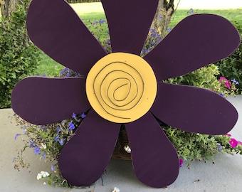 Rustic Purple Wooden Flower Door Hanger