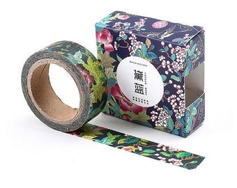 Blue dye floral/ Washi Tape, Masking Tape, Planner Stickers