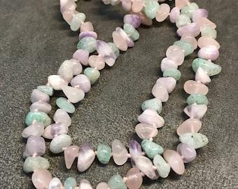 "26"", vintage handmade necklace, genuine amethyst, pink quartz"