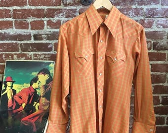 Vintage Seventies 1970s Men's Western Shirt.