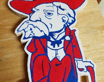 Wooden Colonel Reb Ole Miss logo