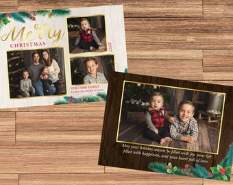 Beautiful Holly and Gold Double-Sided Christmas Holiday Card! Digital File, Print at Home.