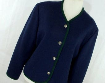 ON SALE Vintage 80s Pendleton Boiled Wool Jacket 10 M Medium Navy Blue Green Silver Metal Button Down Made in Usa P3