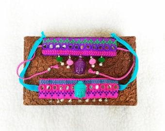 Bracelet cuff Bohemian Gypsy Banjara Tribal ethnic Buddha Howlite Turquoise, purple ∴ ∴ ∴ EMAJARA ∴ ∴ ∴