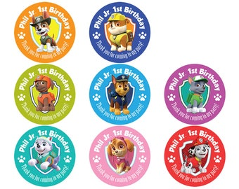 Set Of Personalized Birthday Party Girl Boy Paw Patrol Stickers Pups Skye Chase Everest Marshall Rubble