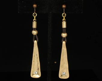 Fashion Art Deco Goldtone Dangle Clip On/Non Pierced Earrings Accented with Rhinestones 3 in #6637