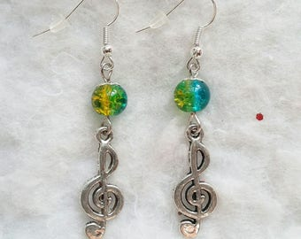 Treble clef and yellow and blue bead earrings