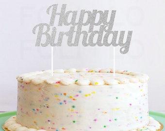 BIRTHDAY Cake Topper in Glitter!   Happy Birthday Cake Decoration   Birthday Party Decoration   Cute Cake Topper   Silver Party Decoration