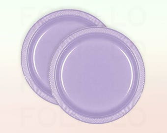 Lavender Plates | Large Unicorn Pastel Plates | Purple Party Decoration | Unicorn Party Theme | Size: 10.25 inches | Set of 20