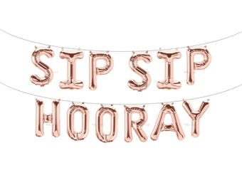 SIP SIP HOORAY Rose Gold Letter Balloons | Metallic Letter Balloons | Rose Gold Party Decorations