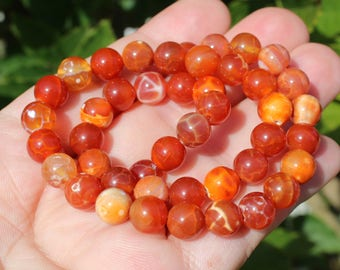 4 beads orange multicolor Agate round 8 MM.