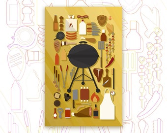 Grilling Collection Print - Barbecue Art Poster - Grilling Meats - BBQ Decor - Kitchen Art - Knolling Print - Graphic Design Poster