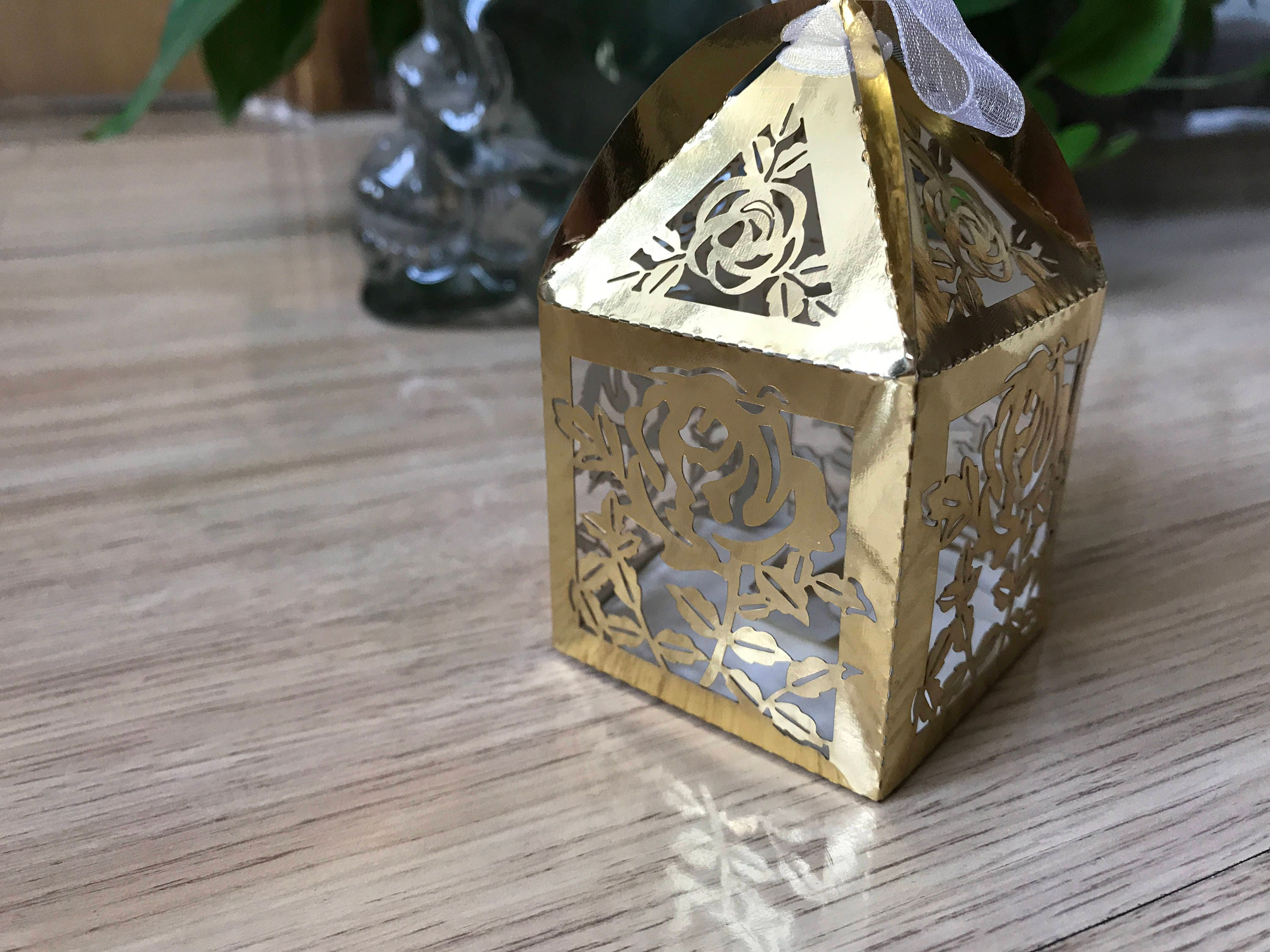 100pcs Metallic Paper Gold Wedding Bridal Favor Boxeschristening