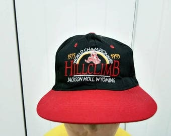 Rare Vintage 75' 95' World Championship HILLCLIMB Jackson Hole Wyoming Cap Hat Free Size Fit All