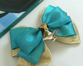 Jasmine inspired,Princess, Aladdin, Hair Bow, Baby Headband, Turquoise, Green, Gold, Charm,Disney,Party,Uk
