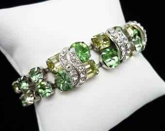 Vintage SIGNED Eisenberg Peridot Green Yellow Rhinestone Bracelet, Eisenberg Bracelet, Eisenberg Jewelry, Green Rhinestone Bracelet
