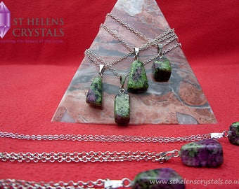Ruby and Zoisite healing reiki crystal pendant necklace by St Helens Crystals