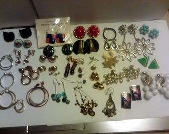 Vintage Art Deco Costume Jewelry Lot 35 pairs of Clip-on Post Pierce and Screw Back Earrings