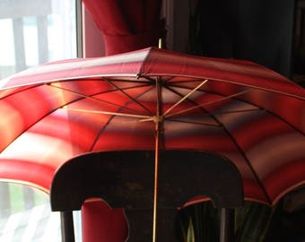 Bamboo Handled Peach and Ruby Striped Taffeta Parasol/Umbrella With Cover 1920s