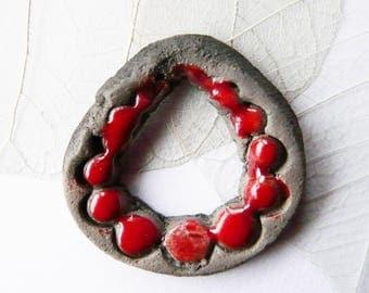 Pendant raku ceramic drop beaded, red enamel, unique, handmade